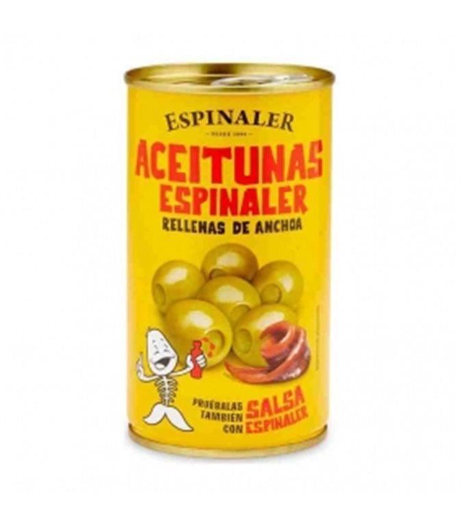 Aceitunas rellenas de anchoa 350gr. Espinaler. 15un.