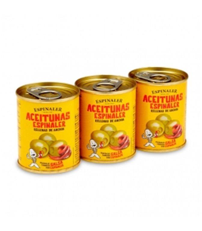 Aceitunas rellenas de anchoa pack 3x50gr. Espinaler. 16un.
