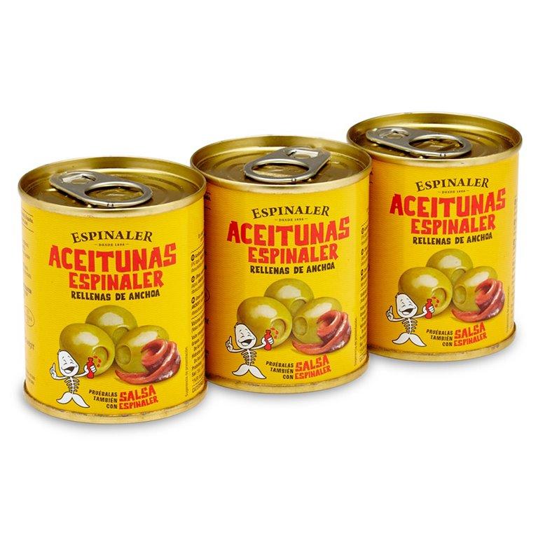 Aceitunas rellenas de anchoa pack 3x50gr. Espinaler. 16un., 1 ud