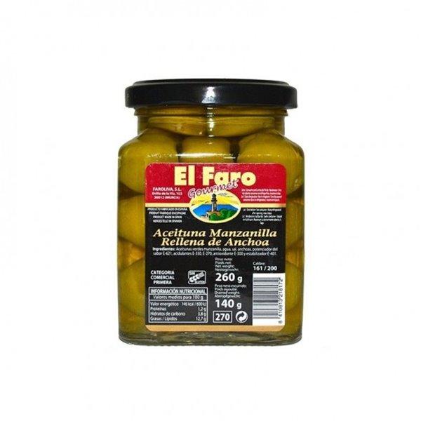Aceitunas Rellenas de Anchoa Selecta El Faro Gourmet