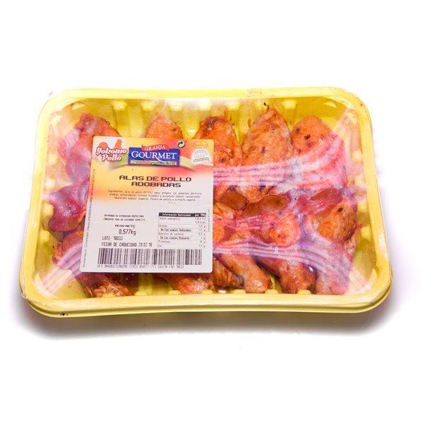 Alas de pollo adobadas (bandeja de 6 alas completas)
