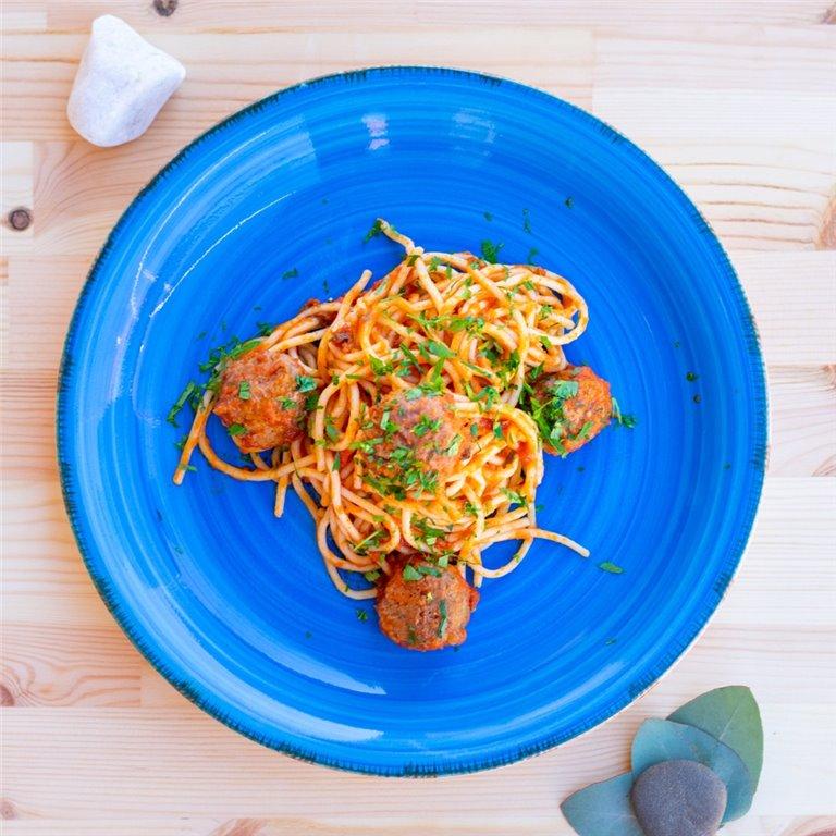 Albóndigas con tomate y espaguetis, 1 ud