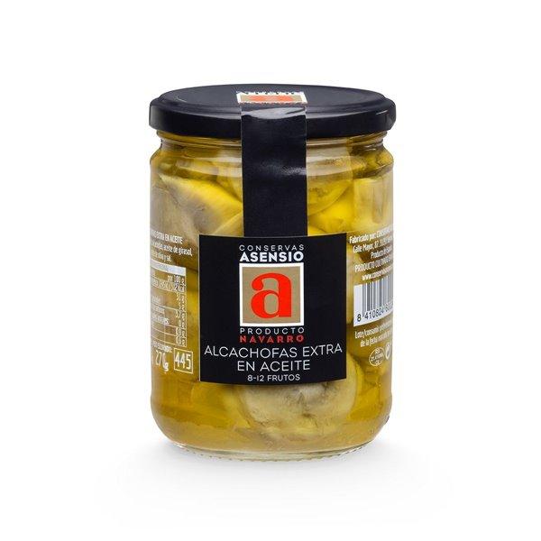 Alcachofas en Aceite  8-12 frutos Frasco  390 gramos