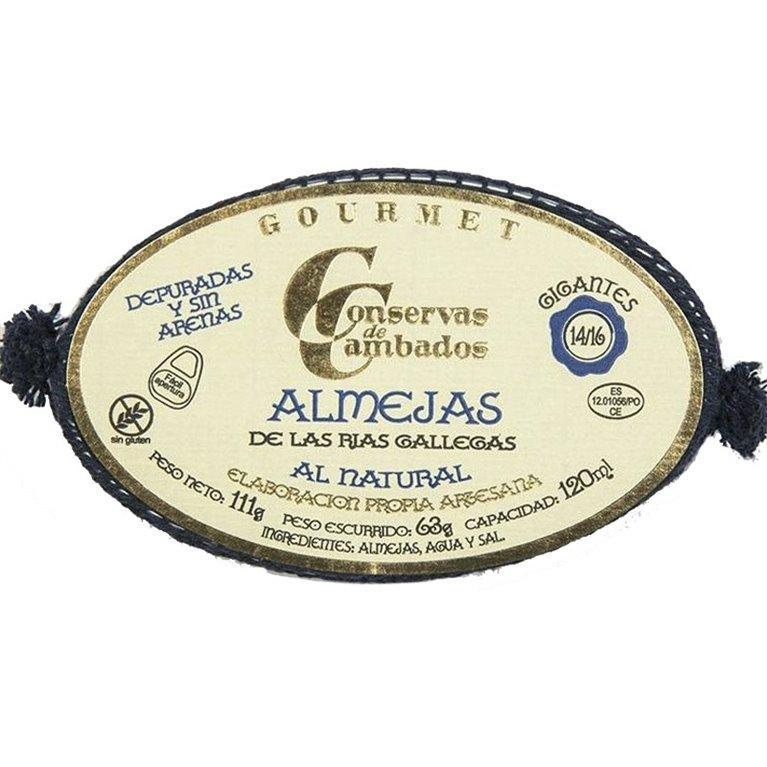 Almejas de las Rías Gallegas 14/16 111gr (GIGANTES) Conservas Cambados