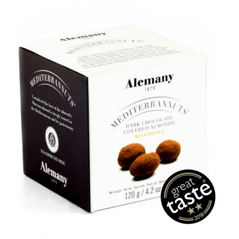 Almendra Marcona recubierta de chocolate negro con miel de romero