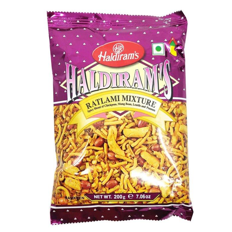 Aperitivos de Mezcla picante de garbanzos, frijol mungo, lentejas y cacahuetes | Haldiram Ratlami Mixture 200g