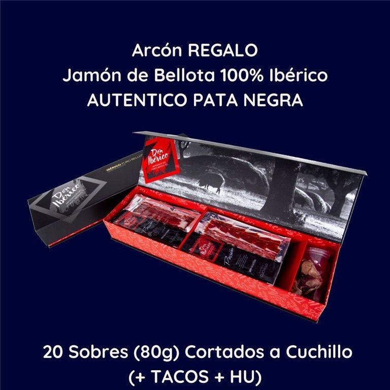 [GIFT BOX ]20 Packets of Sliced Ham Sliced with Knife (80g/piece) (+ TACOS + HU ) - 100% Iberian Acorn-fed Ham (PATA NEGRA) Default Title