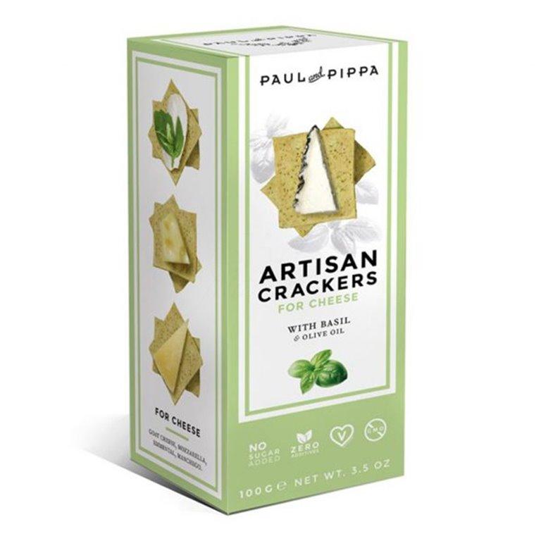Artisan Crackers con Albahaca 130gr. Paul & Pippa. 10un, 1 ud