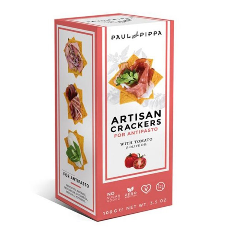 Artisan Crackers con Tomate 130gr. Paul & Pippa. 10un, 1 ud