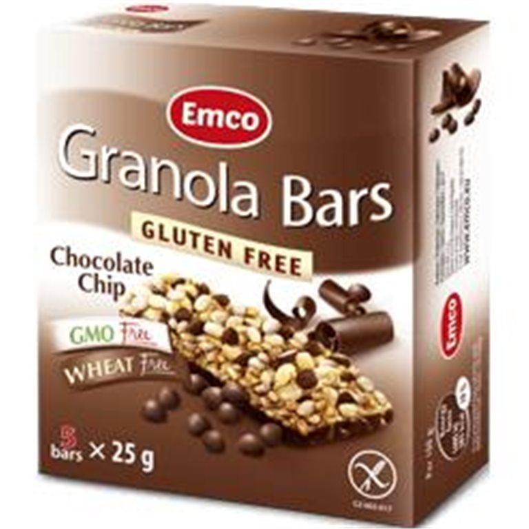 Barritas de Granola con Choco Chips Sin Gluten 125g