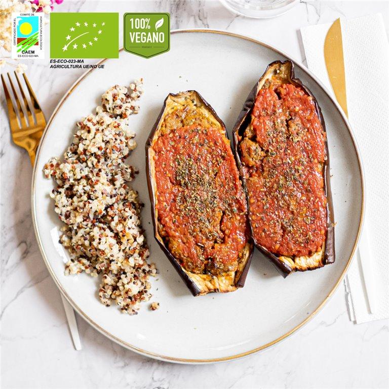 """Berenjenas rellenas de nuestra """"rebel meat"""" BIO con quinoa"""