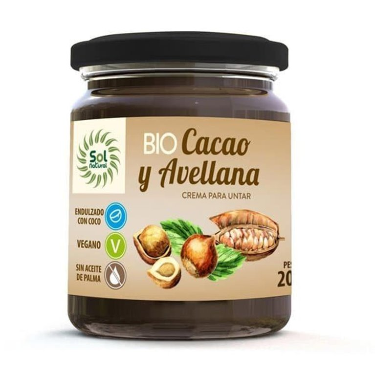 Bio cacao y avellana Solnatural 200g