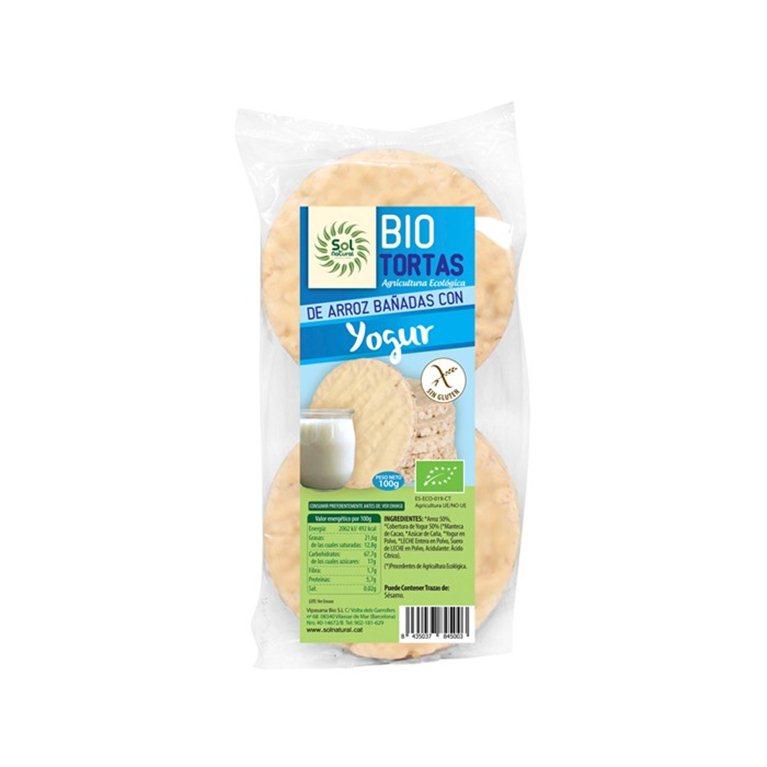 Bio tortas de arroz bañadas con yogur, 100 gr