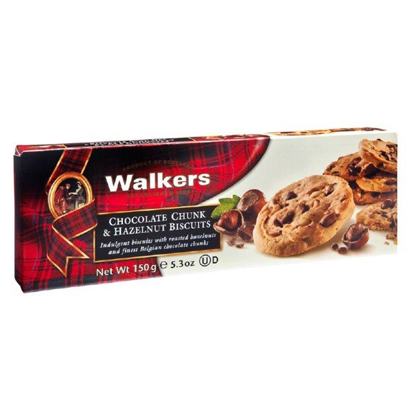 Biscuits con Trozos de Chocolate Belga y Avellana 150gr. Walkers. 12un.