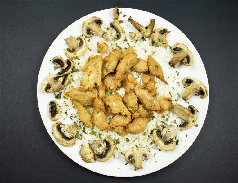Bocados de pollo HEURA 100% vegetal con arroz y champiñones (VG2)