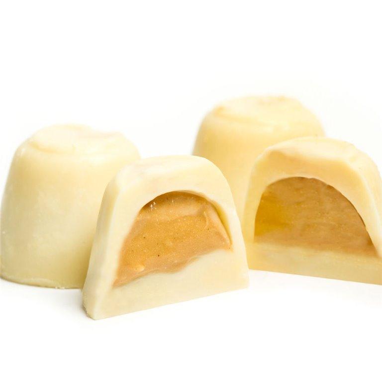 Bombones de Chocolate Blanco rellenos de Turrón Artesano