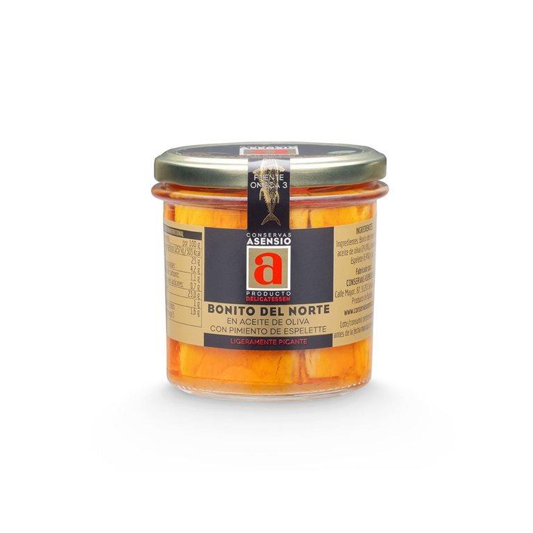 Bonito del norte en aceite de oliva y pimiento de espelette frasco B260 Asensio