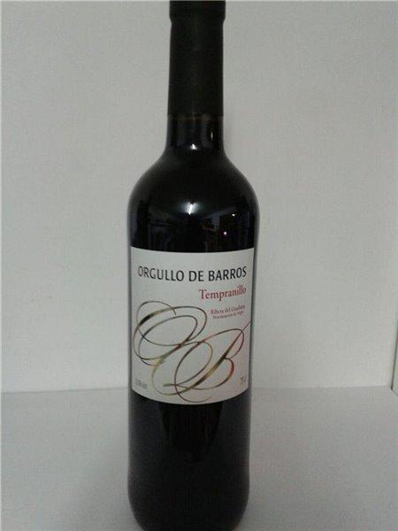 Botella de vino tinto tempranillo Orgullo de Barros