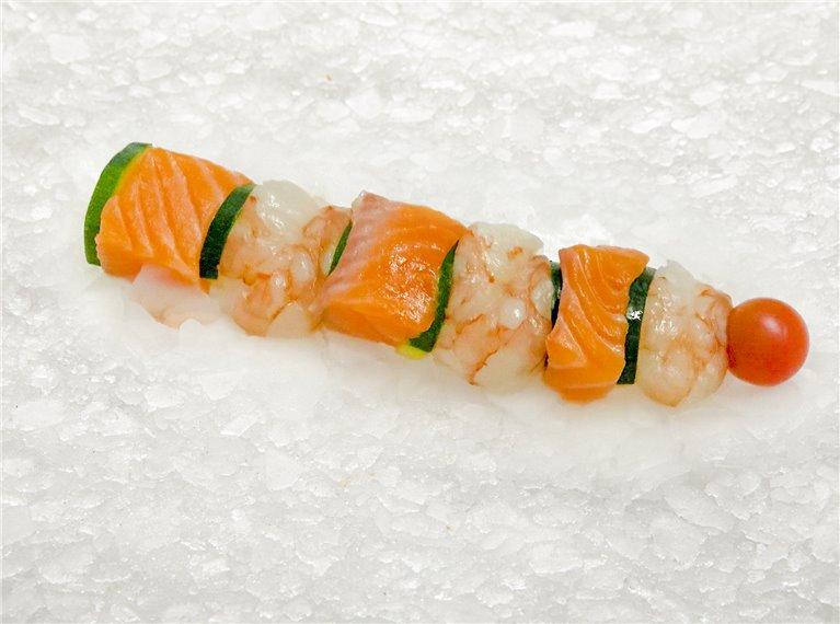 Salmon and shrimp tail brochette