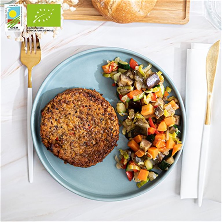 Burger vegana de quinoa y lentejas con verduras de temporada BIO