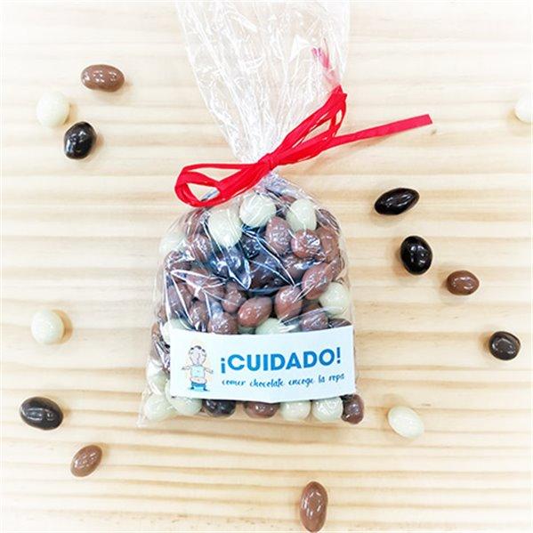 Cacahuetes bañados en tres chocolates (bolsa 125gr.)