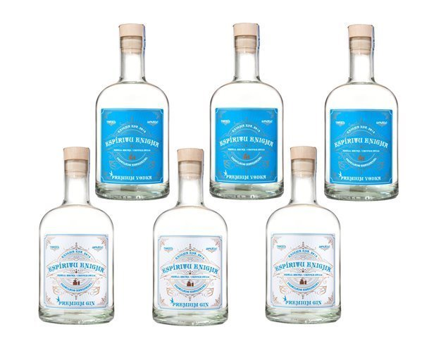 Caja 6 Botellas Ginebra (3) Y Vodka (3) Espíritu Enigma