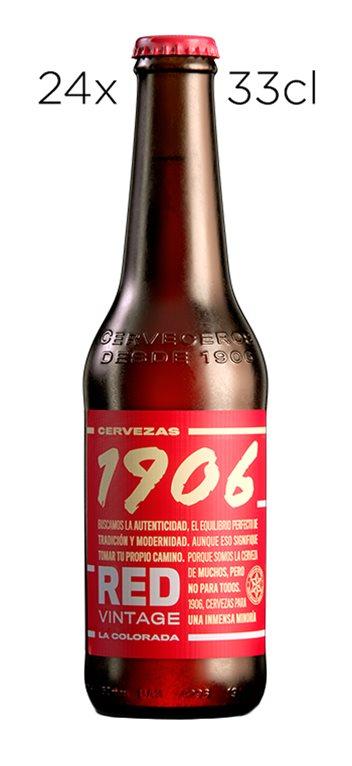 Caja de 24 Tercios Cerveza Estrella Galicia 1906 Red Vintage La Colorada