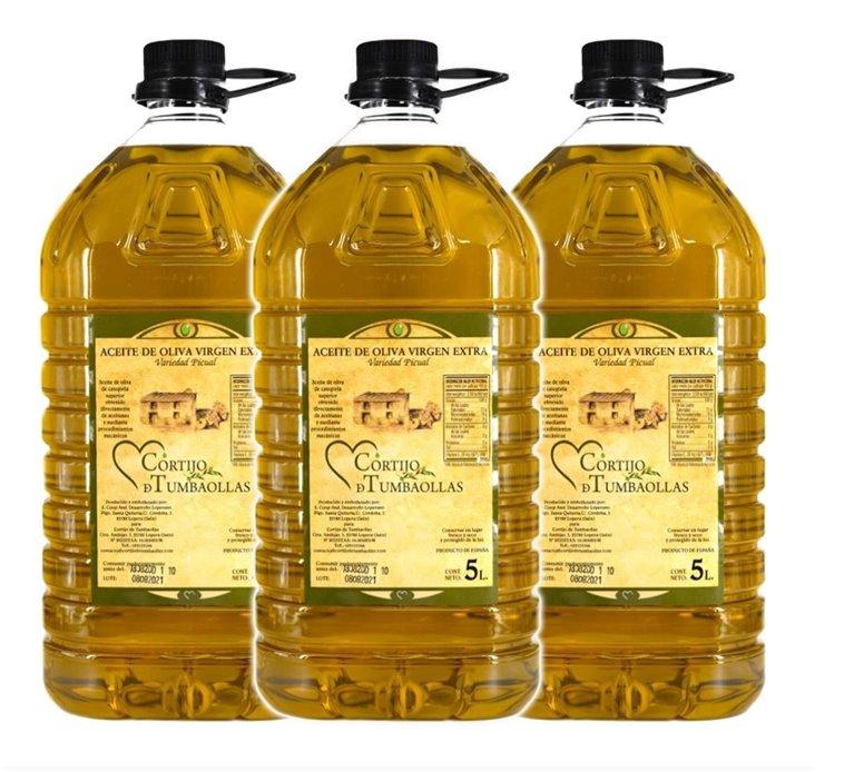Caja de 3 garrafas 5Litros Aceite de Oliva Virgen a Extra