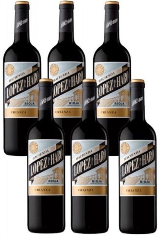 Caja de 6 botellas de Hacienda López de Haro Crianza 2018, 6 ud