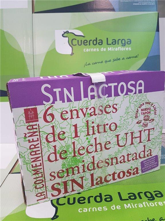 """Caja de 6 Tetra Briks de leche semidesnatada Sin Lactosa """"La Colmenareña""""."""