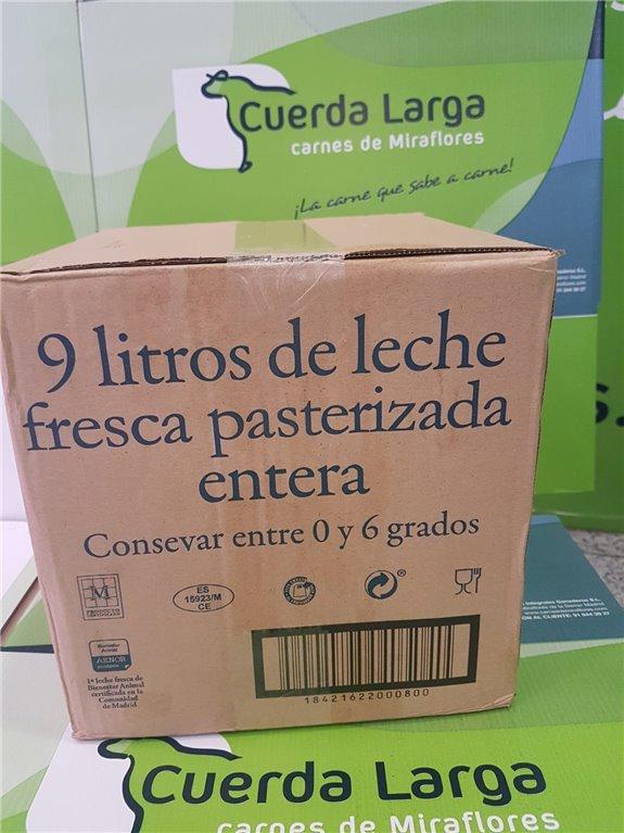Caja de 9 de litros de leche fresca pasterizada entera
