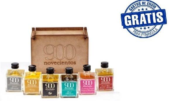 Caja de madera con 6 unidades de productos 900.