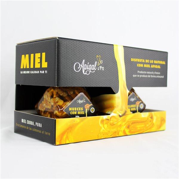 Caja regalo (Miel Nueces 300g + Avellanas 300g) con cucharilla