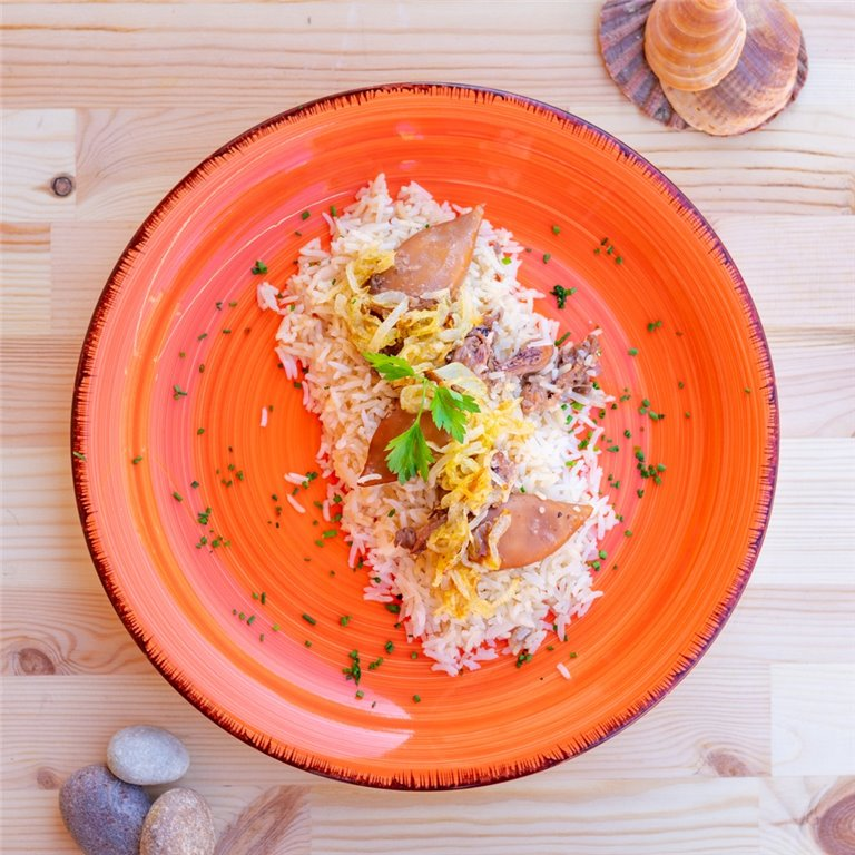 Calamares encebollados con arroz, 1 ud