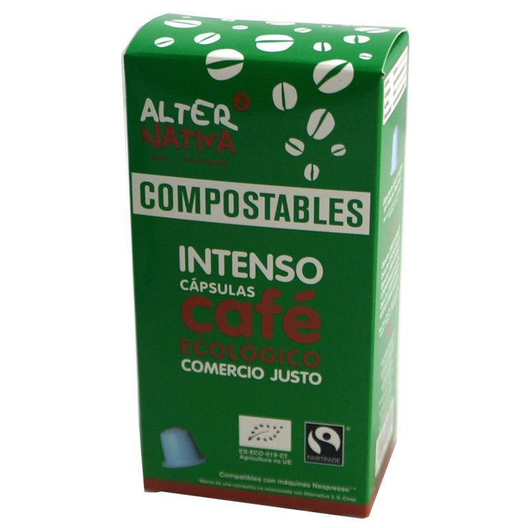 Cápsulas Compostables de Café Intenso Bio Fairtrade 10 Und.