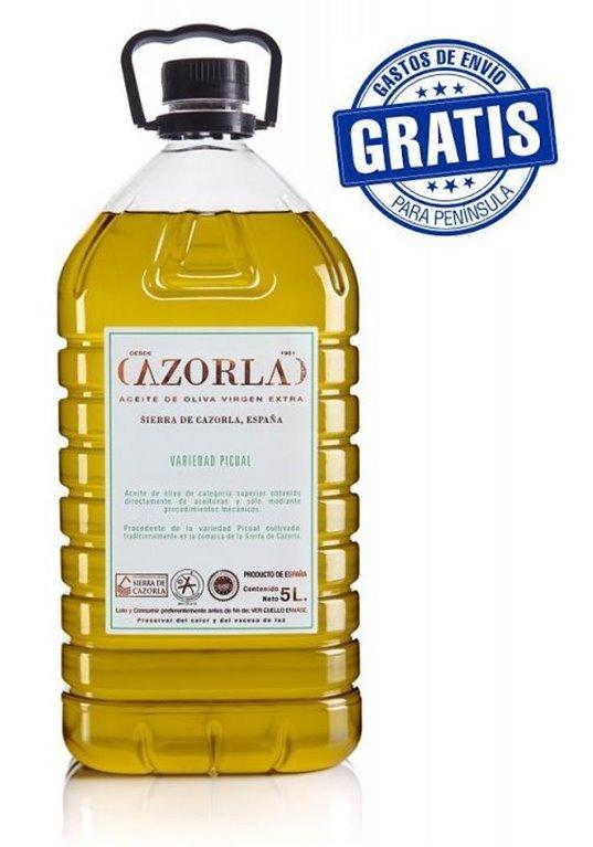 Cazorla. Aceite de oliva Picual. 4 envases de 5 litros.