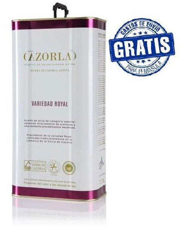 Cazorla. Aceite de oliva royal. Caja de 4 latas de 5 litros