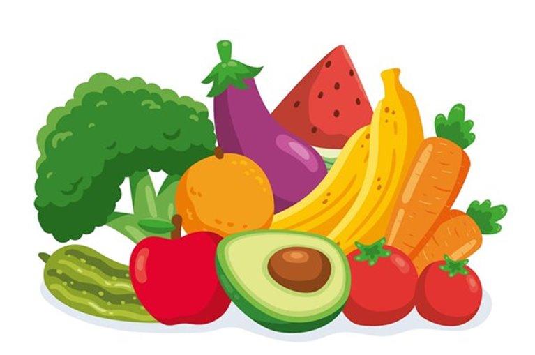 Cesta de fruta y verdura variada