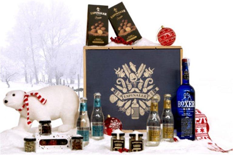 Cesta de Navidad Gintonic Espinaler Boxer en caja de madera
