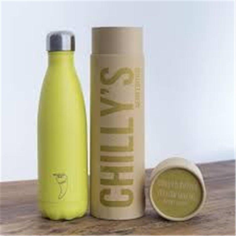 Chilly's Bottle Neon Amarillo botella termo de acero inoxidable 500 ml