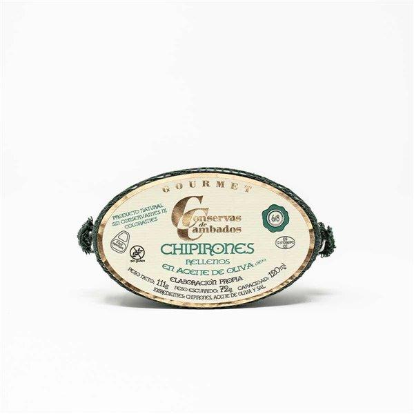 Chipirones rellenos en aceite de oliva 111 g. 6/8 uds Conservas de Cambados