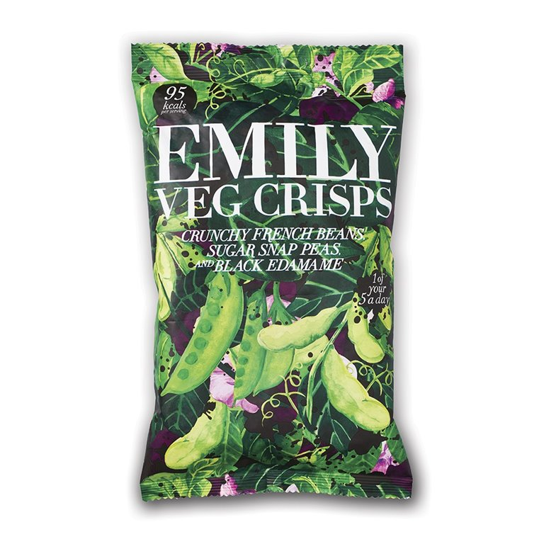 Chips de judias Verdes y Edamame 80gr. Emilly Crisps. 8un., 1 ud