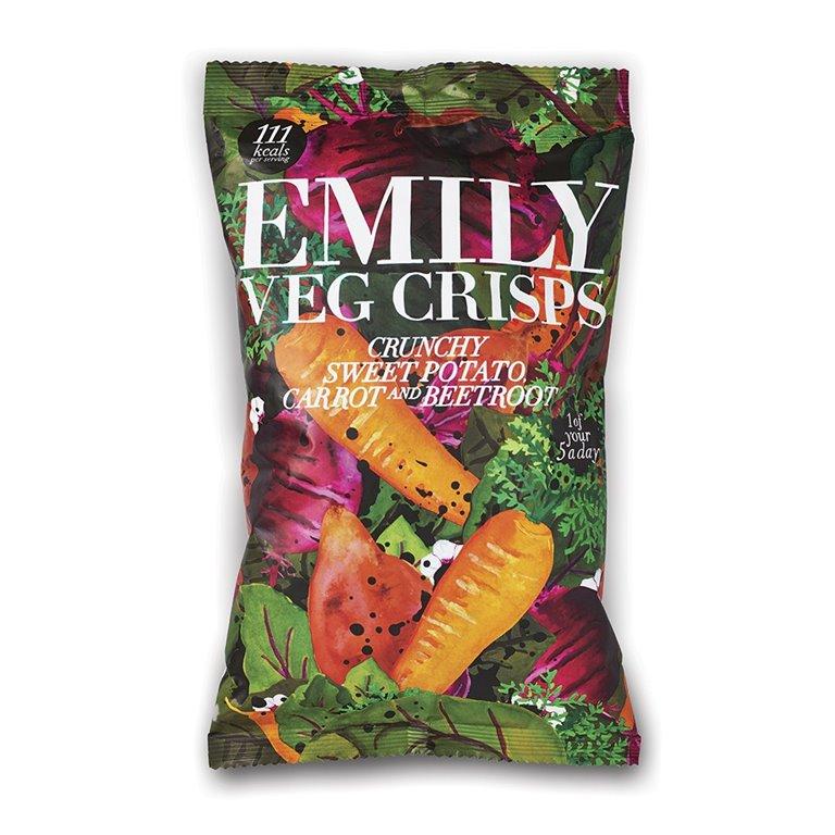 Chips de Verduras (Patata, Zanahoria y Remolacha) 80gr. Emily Crisps. 8un., 1 ud