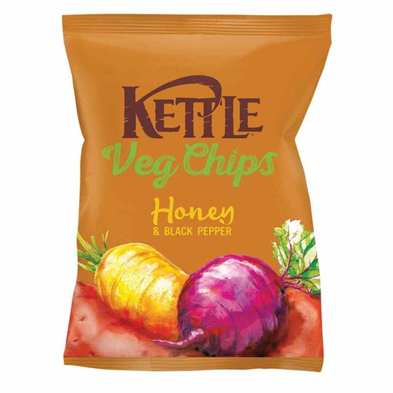 Chips Vegetales fritos con Sal, Miel y Pimienta Negra 100gr. Kettle Chips. 10un., 1 ud