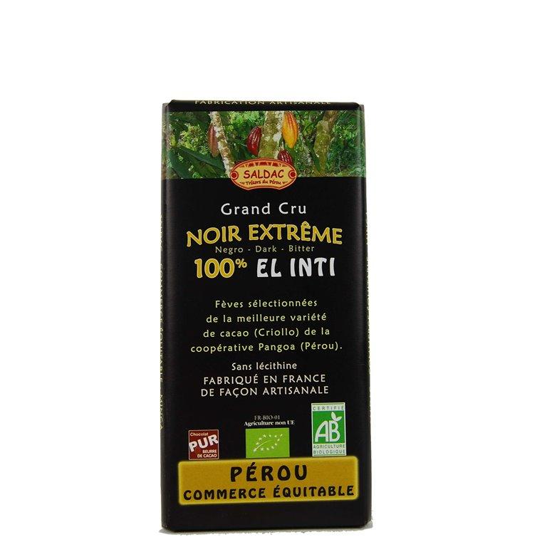 Chocolate 100% cacao sin azúcar, 100 gr