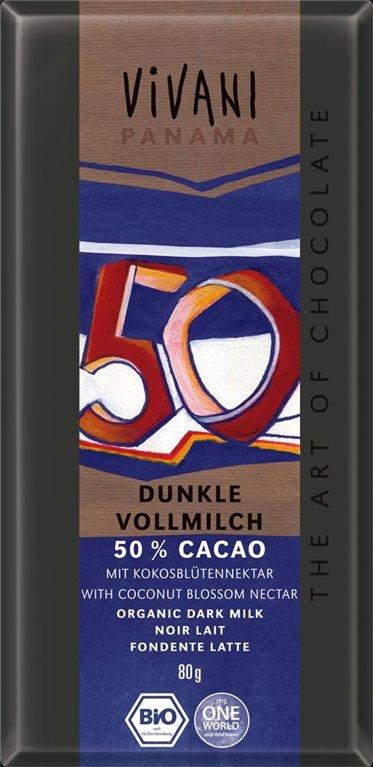 Chocolate 50% con leche, 80 gr