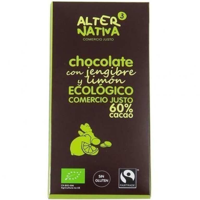CHOCOLATE 60% CON JENGIBRE Y LIMON S/G, 80 gr
