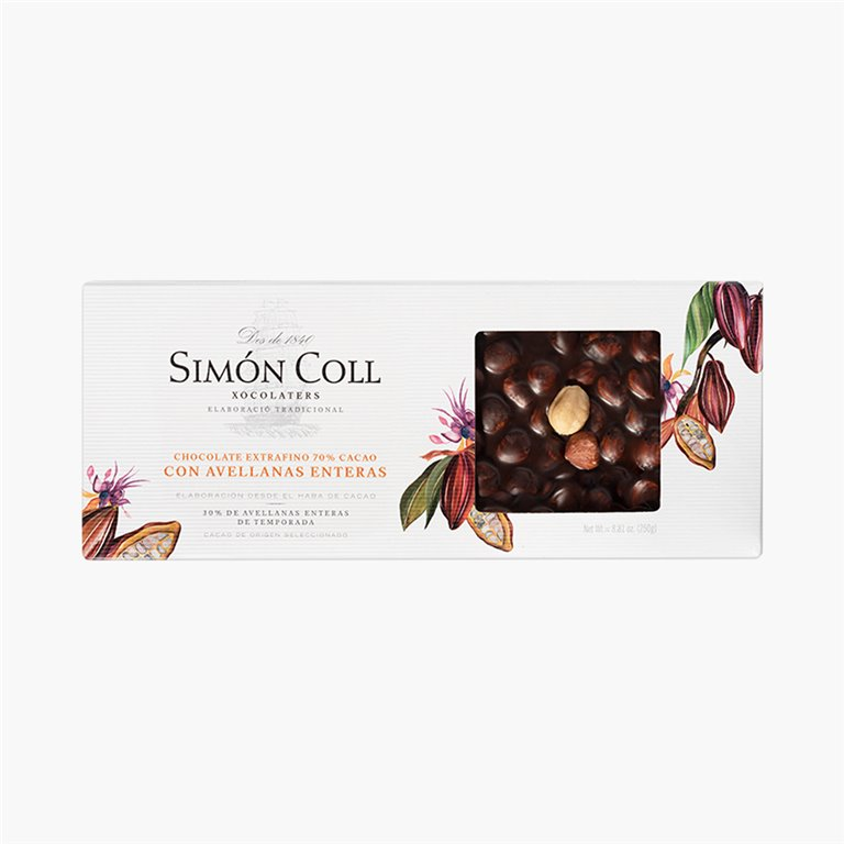 Chocolate 70% Cacao con Avellanas enteras 250g Simon Coll