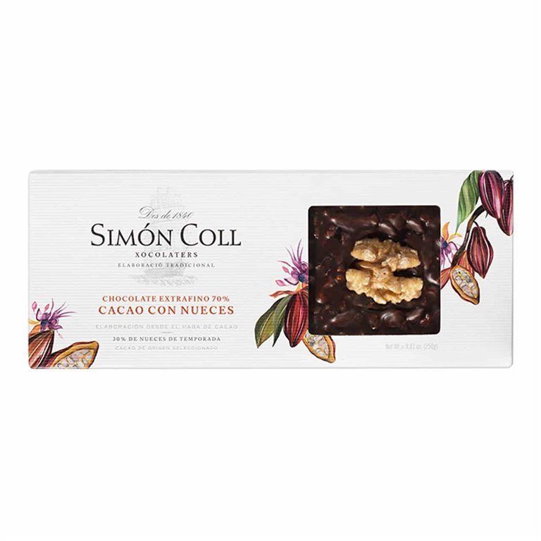 Chocolate 70% Cacao con Nueces 250g Simon Coll