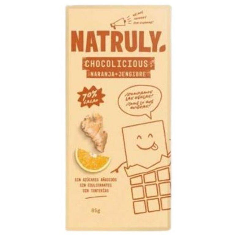 Chocolate 70% Cacao Naranja Jengibre Sin Azúcar Añadido 85g